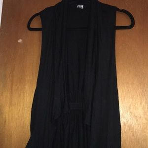 Free People Black cotton drap vest